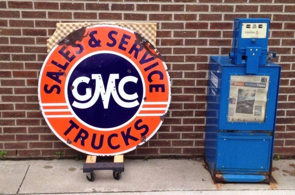 "Vintage GMC Trucks Sales & Service Double Sided Porcelain Sign 42"" (#10713) #GMC"