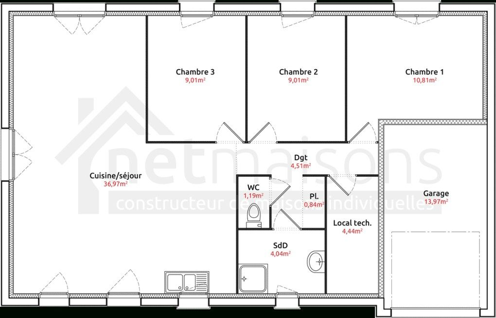 maison plain pied 3 chambres sans garage