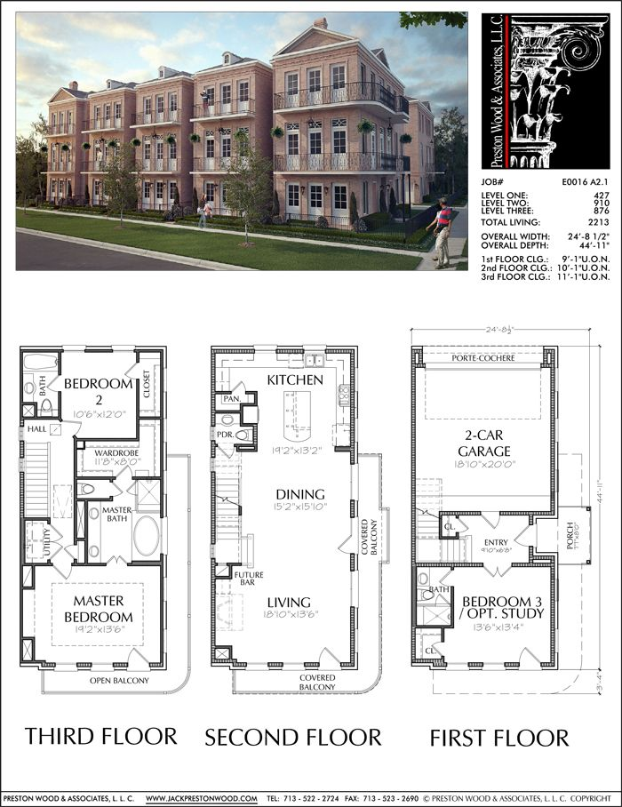Three Story Townhouse Plan E0116 A2 1 Town House Floor Plan House Blueprints Small House Floor Plans