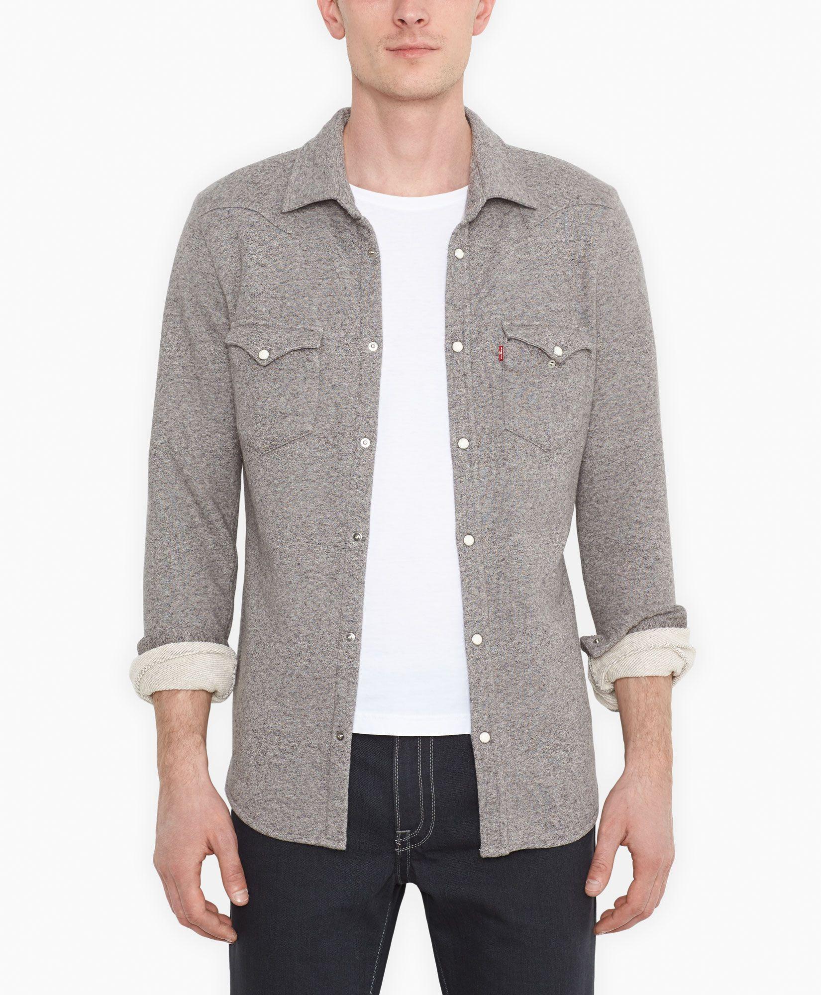 473a2dff666 Levi s Barstow Western Fleece Shirt - Medium Grey Heather - Shirt Shop