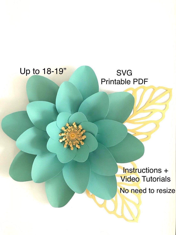 Svg Pdf Paper Flowers Wall Decor Template Flower Svg Files