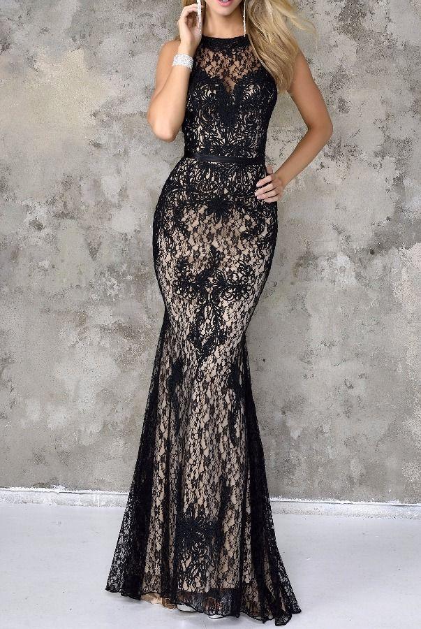 Nina Canacci Beautiful Black Lace Gown Dress 4103