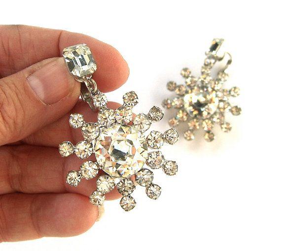 606cf22e1 Large Vintage Crystal Rhinestone Earrings Clip by OurModernHistory