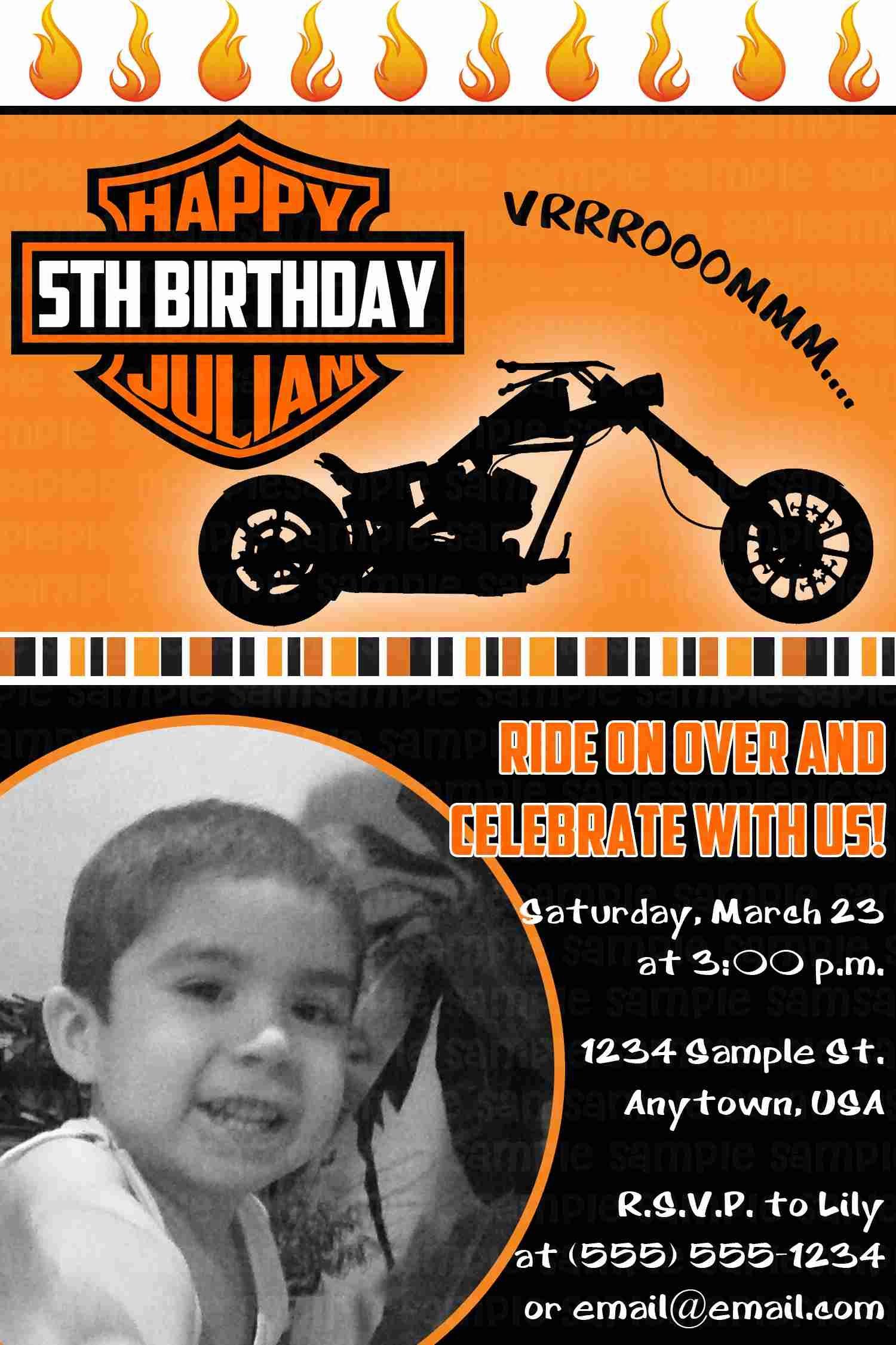 motorcycle biker birthday invitation  11