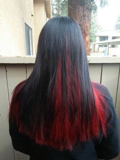 Black On Top Red Underneath Black Red Hair Thick Hair Styles