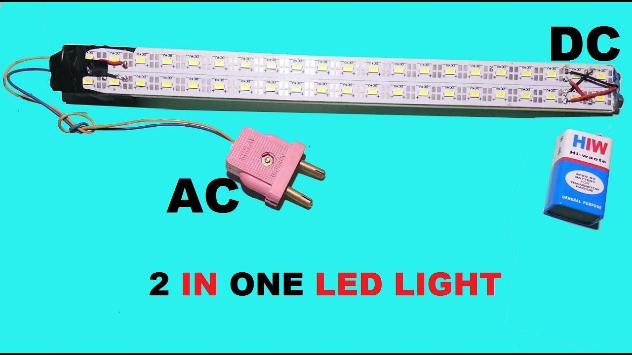 haw to make 2 in one led light ac+dc homemade - youtube