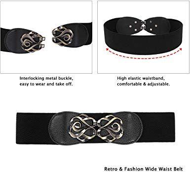 984f36377ae4d Women Belt for Dress Black Wide Elastic Stretch Waist Belt Retro Cinch Belt  at Amazon Women's Clothing store: