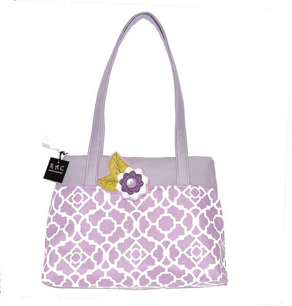 Large Purse  The Elayne in Lilac Lattice Print by RACAccessories, $45.00