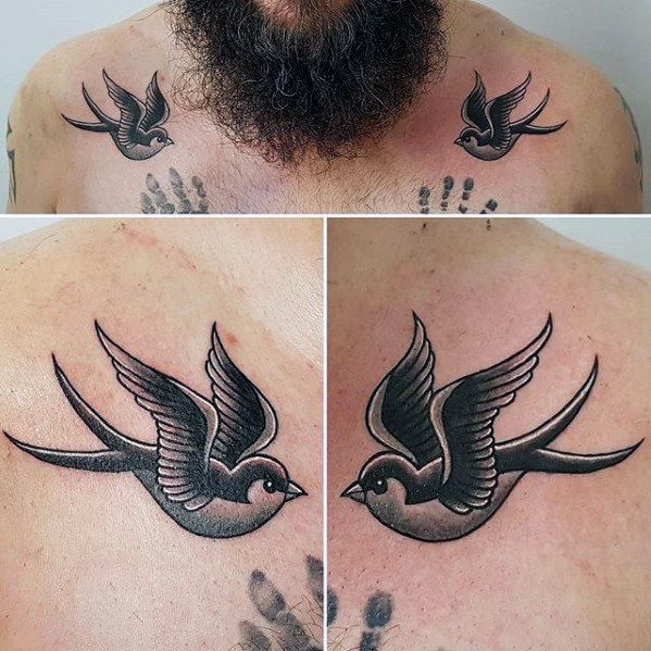 6d96d3cb2 Black And White Ink Swallows Traditional Mens Bird Collarbone Tattoo