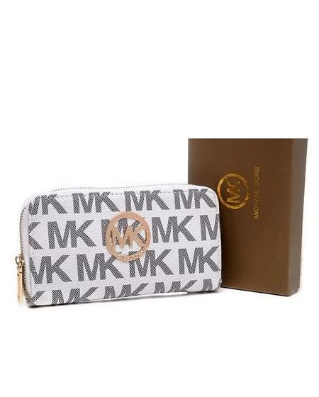 Michael Kors Purses Continental Monogram Canvas White