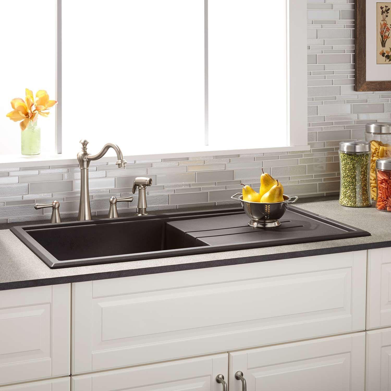 39 Manton Drop In Granite Composite Sink With Drain Board Black