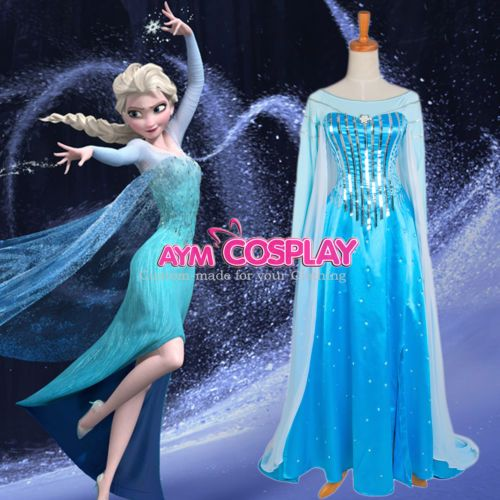 $195.95 Disney Frozen Elsa dress Movie costume cosplay tailor-made  G1225