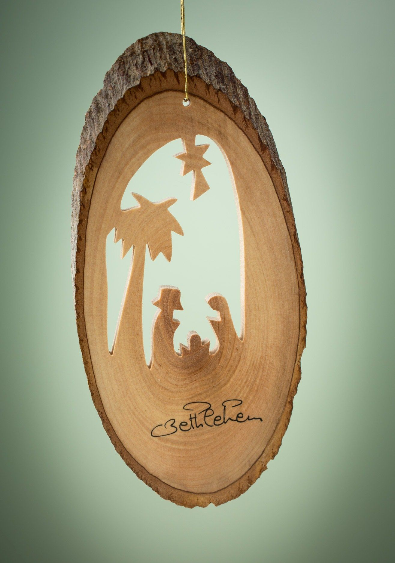 Olive Wood Nativity With Palm Ornament Wood Ornaments Christmas Wood Christmas Tree Ornaments