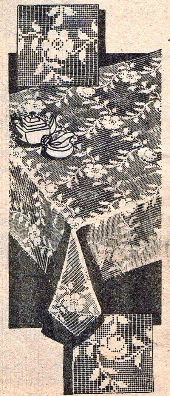 1960s Rose Medallion PATTERN in Filet Crochet Alice Brooks 7342 ...