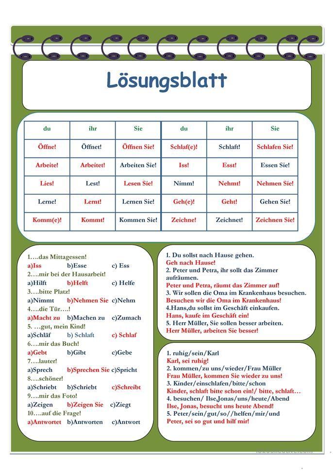 Imperativ | Worksheets and Language