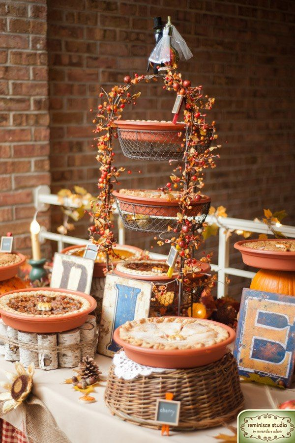 Pie Display At A Fall Wedding Like The Pie Stand Made From Birch Best Pie Display Stand