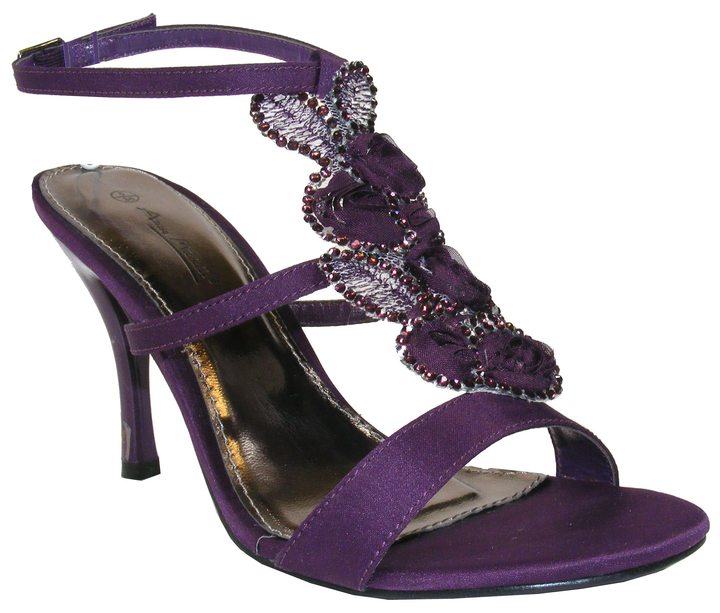 Purple Wedding Shoes Purple Satin Flowery Diamante