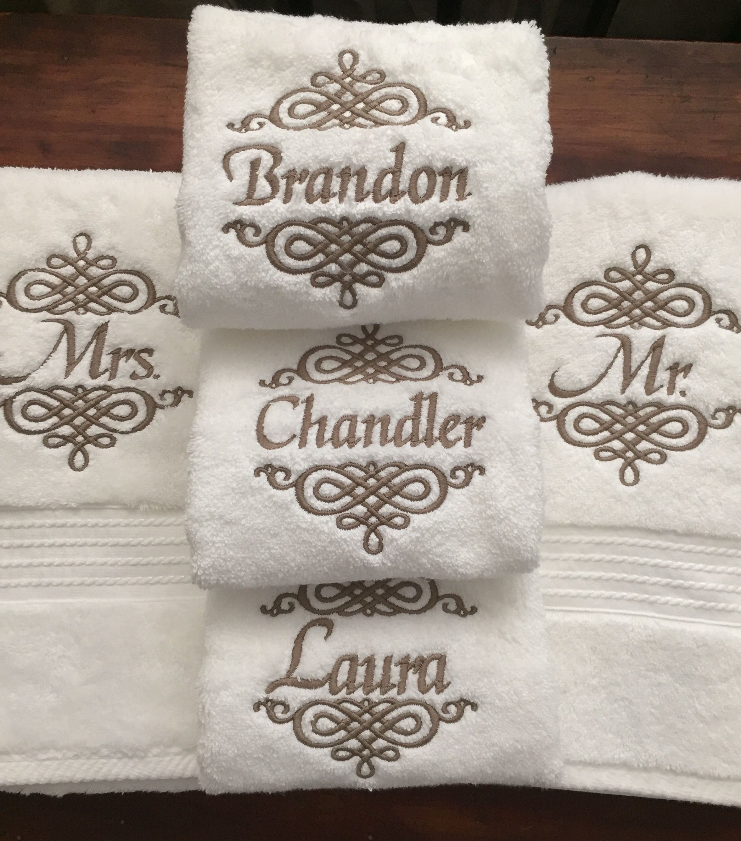 Set of mr and mrs monogrammed towels creative