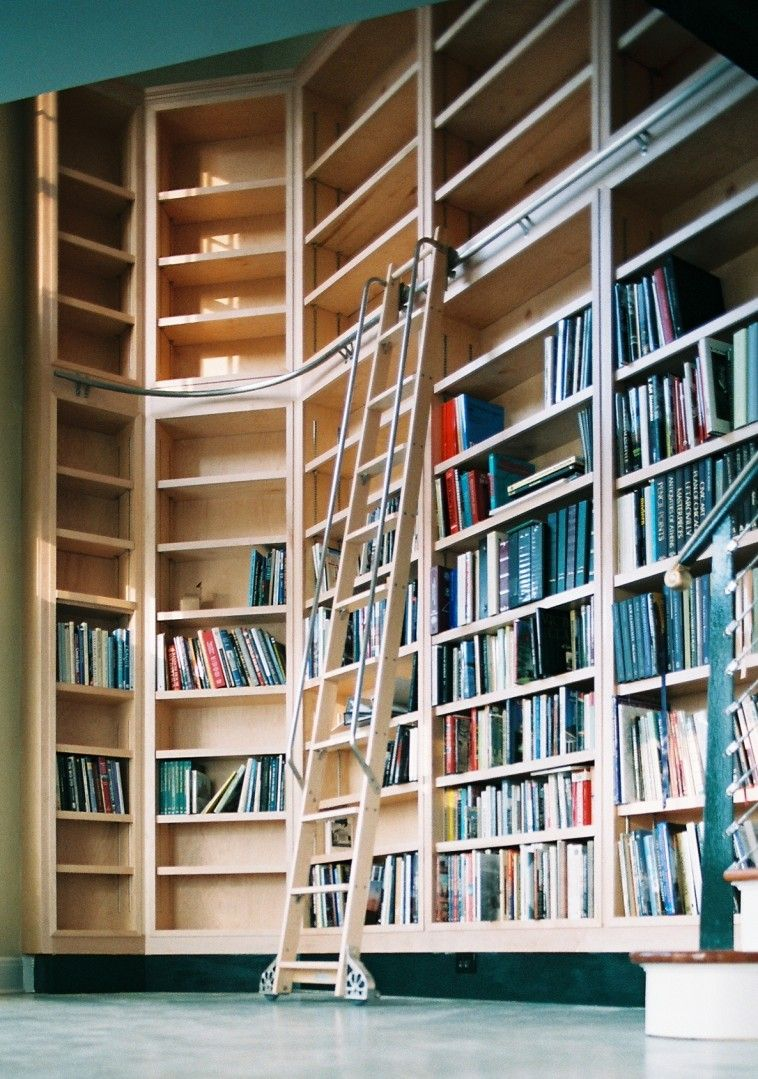 Furniture Curved Brown Wooden Floating Library Bookshelf With Brown Wooden Ladder On The Floor Alluring Libr Library Bookshelves Home Library Library Ladder