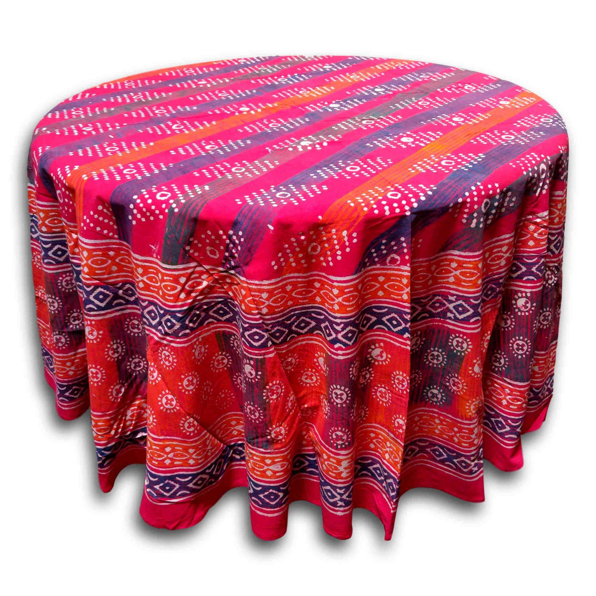Handmade 100% Cotton Hand Block Print Dabu 90 Inches Round Tablecloth  Geometric Red Orange