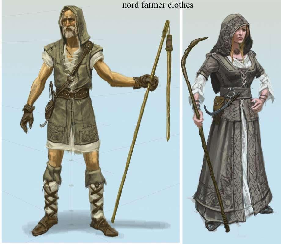 Farmer Clothes concept art from The Elder Scrolls V: Skyrim by Adam Adamowicz