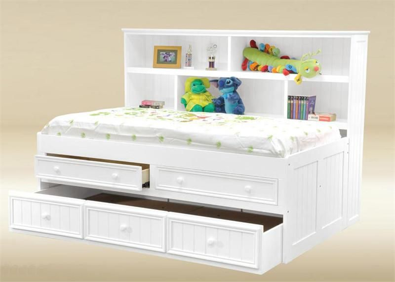 White Bed With Headboard And Storage For Kids Bookcase Bed