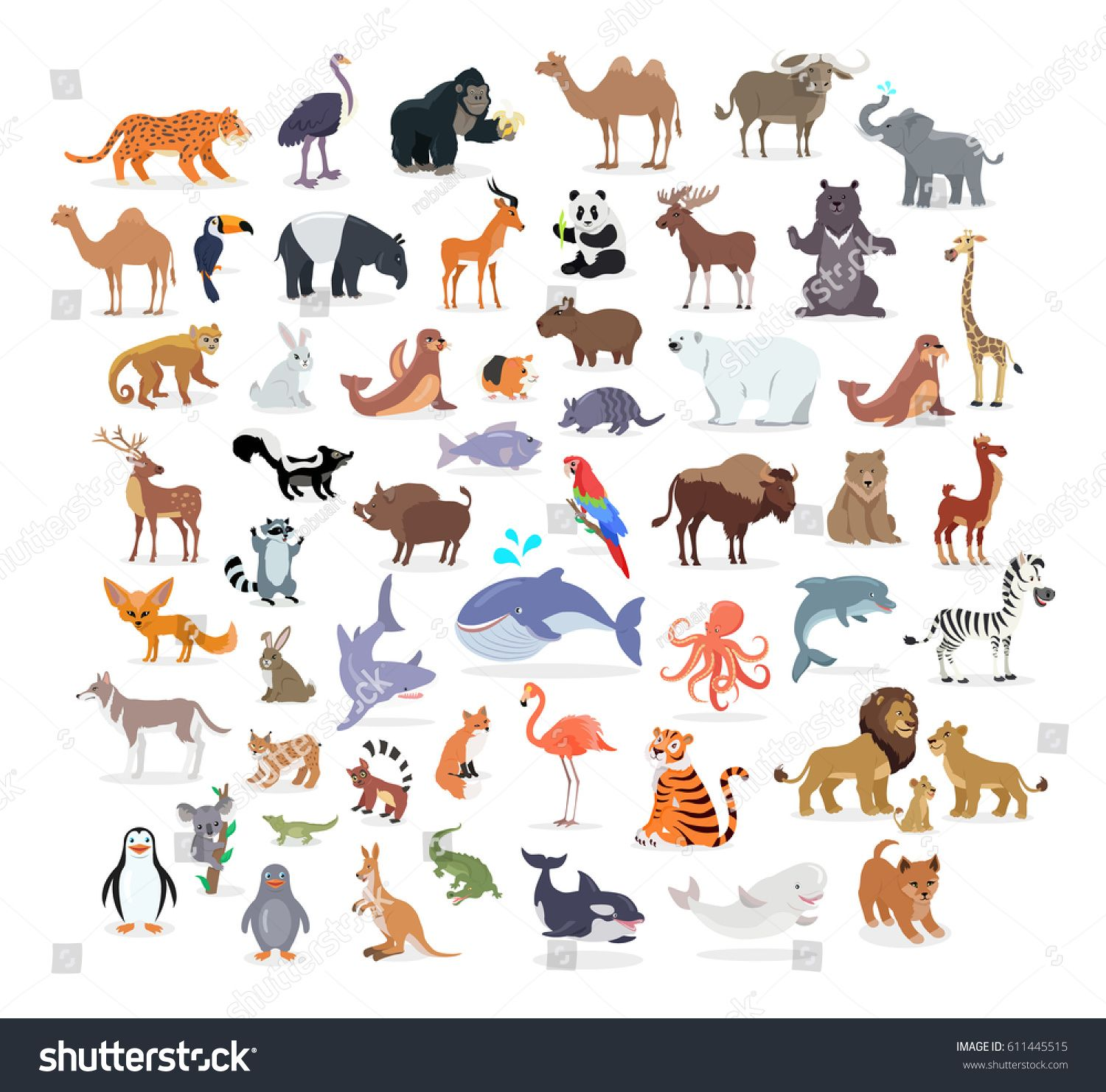 Animal full length portraits collection on white. Vector