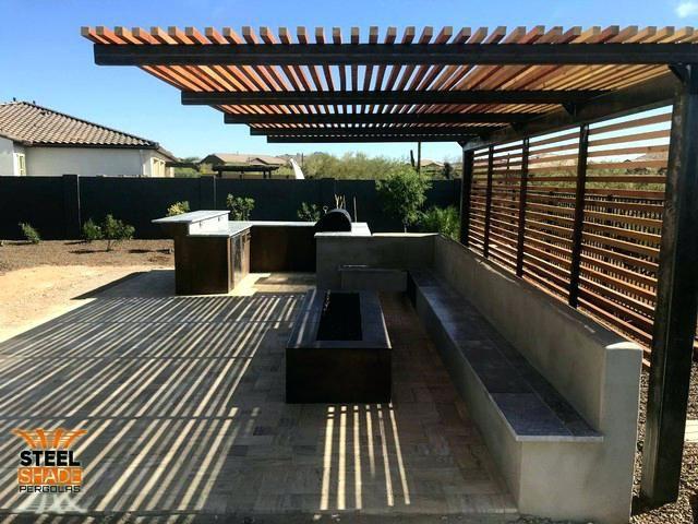 Steel Shade Pergolas Custom Flat Top Cantilever Raw Finish Cedar And Back Side Bars Pergola Covers