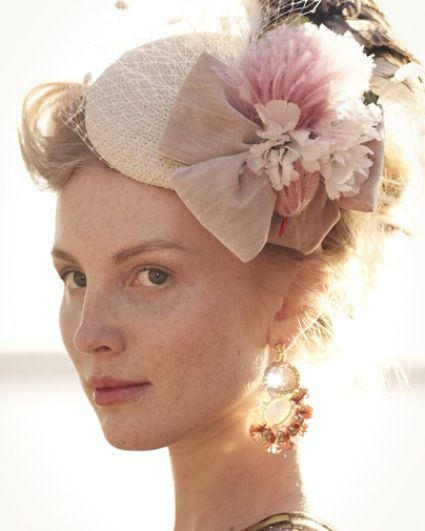 pink bow and feathers pillbox-style hat  6af23019d0d6