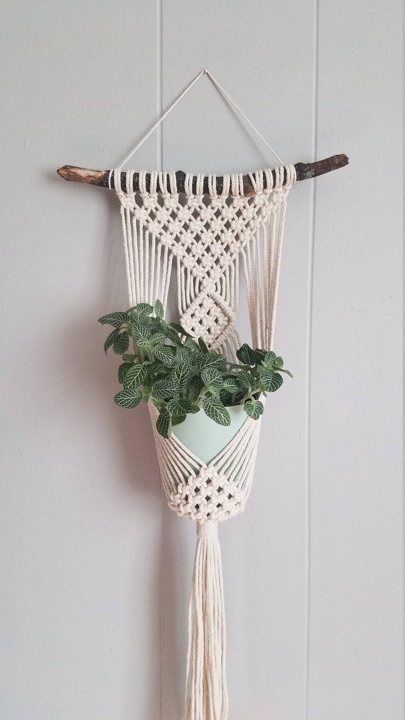 Clove hitch single plant hanger / Macrame plant wall hanging / home decor #macrame