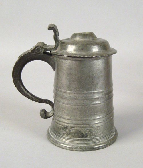 "Pook & Pook. October 24th & 25th 2008. Lot 467.  Estimated: $3K - $5K. Realized Price: $12870. Philadelphia pewter tankard, late 18th c., bearing the touch of Parks Boyd, 7 1/2"" h."