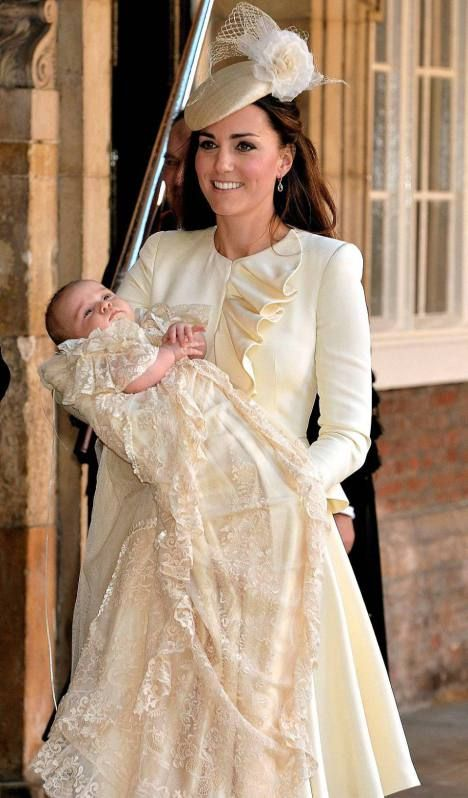 Kate Middleton and Prince George at Prince George's Christening