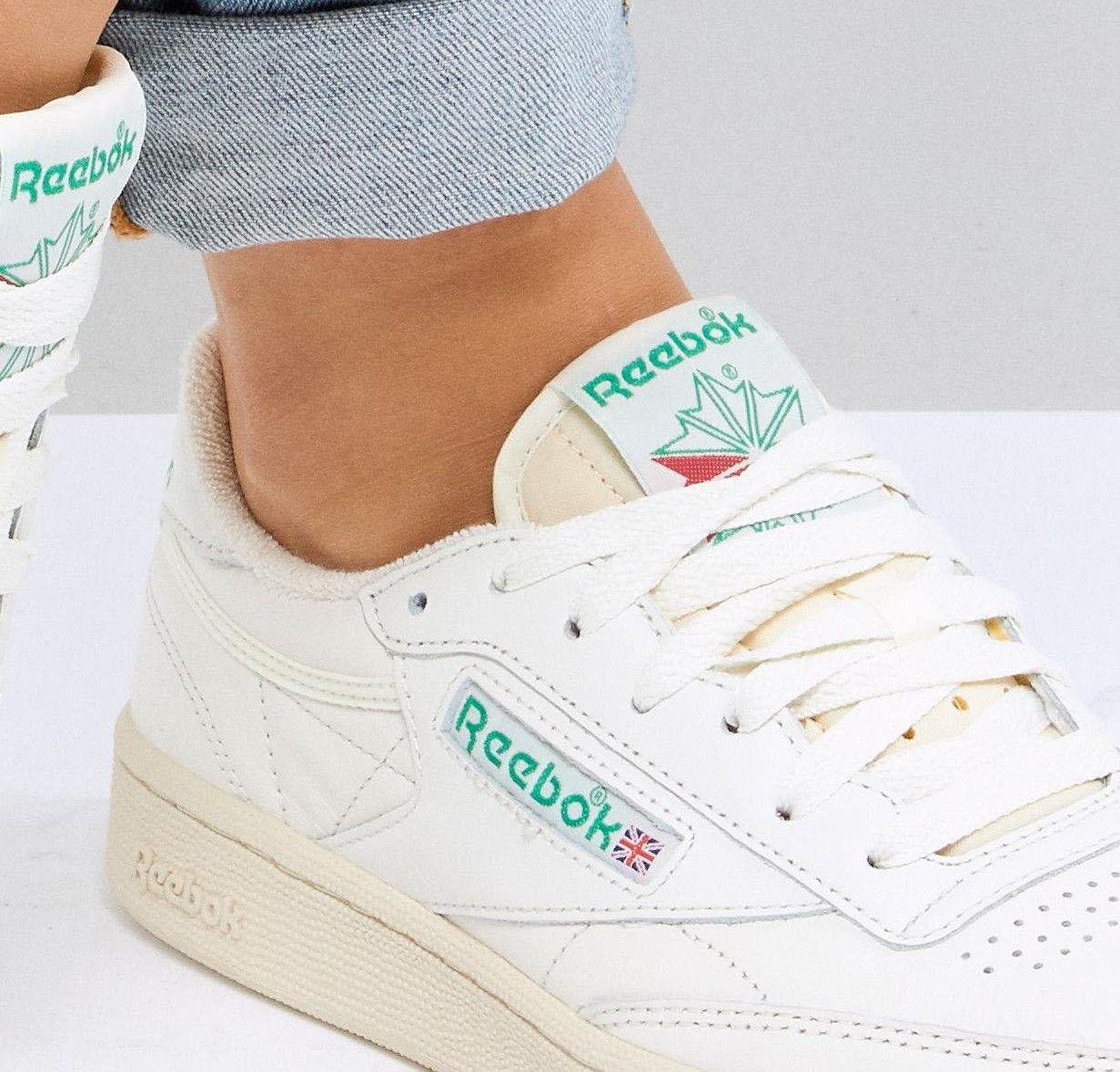 Punto de referencia Metropolitano Circunferencia  Reebok Classic Club C Vintage Sneakers In Chalk With Green | ASOS | Vintage  sneakers, Reebok classic, Reebok classic club c