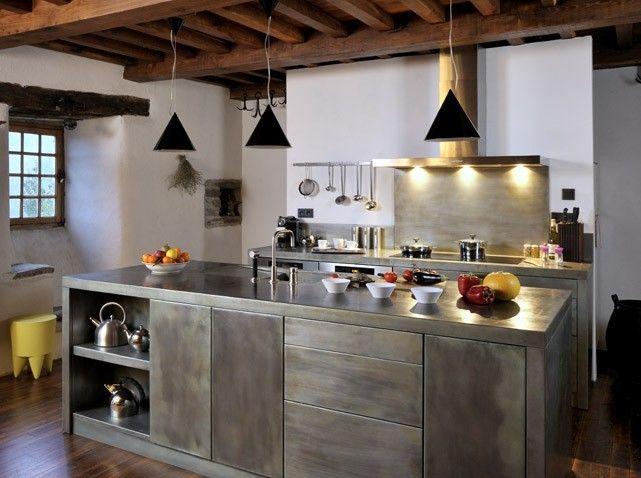 Facade Maison Fer Et Bois Recherche Google Cuisine Pinterest - Cuisine alu et bois