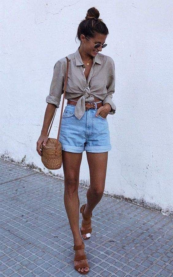 Photo of Knot Quarter Length Button-Up | Light rolled jeans shorts | Brown belt | Brown sandals | Whicker Cro…