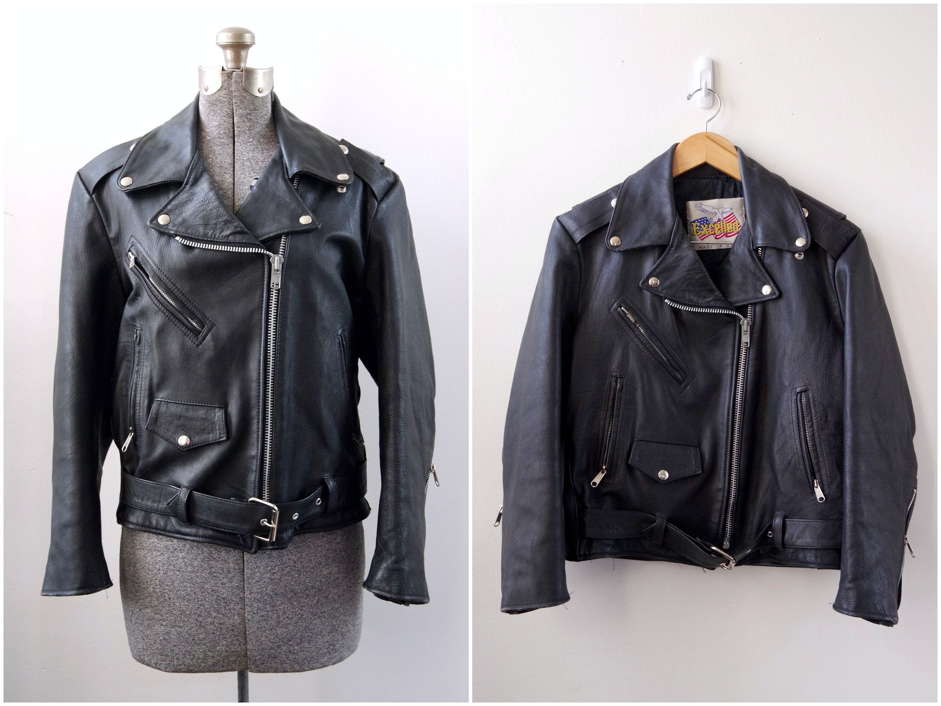 1980s Excelled Black Leather Motorcycle Jacket Size 12 Made Etsy Leather Motorcycle Jacket Black Leather Motorcycle Jacket Jackets [ 2250 x 3000 Pixel ]