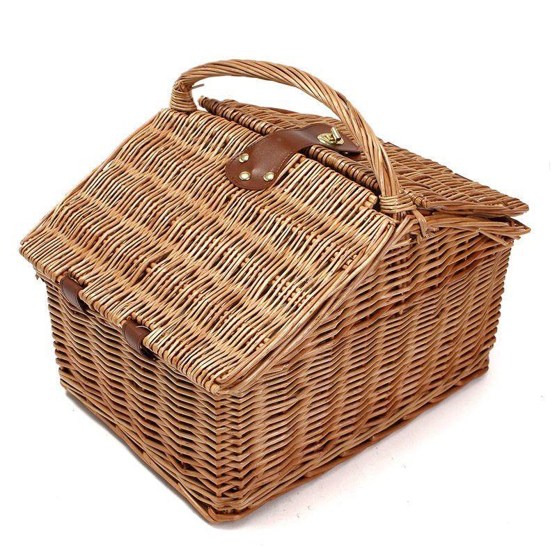 New Wicker Picnic Basket Shopping Hamper Carry-on Carry HandleVintage Handmade Portable Storage Baskets Home Outdoor Basket