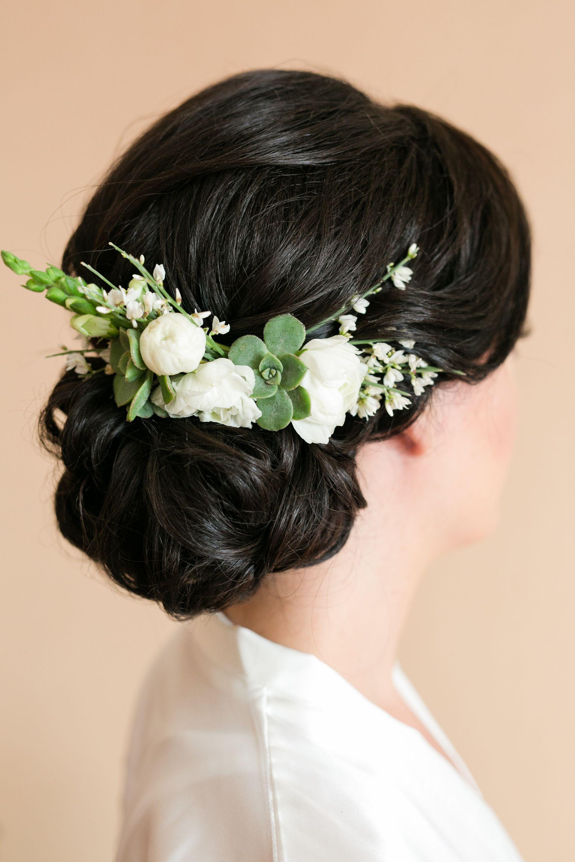 White And Green Hair Flowers Bridal Hair Ideas Low Bun Succulents White Rosebuds Kaysha Weiner Wedding Hair Flowers Floral Accessories Hair Elegant Updo