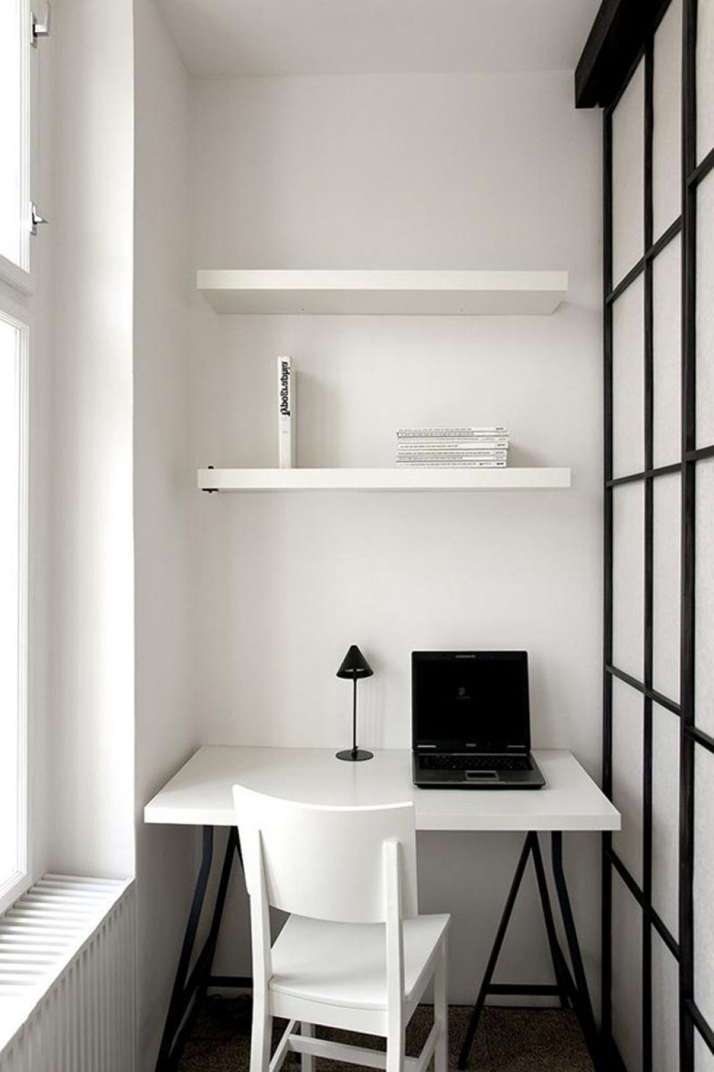 Small Home Office Idea in Black and White Color Scheme for ...