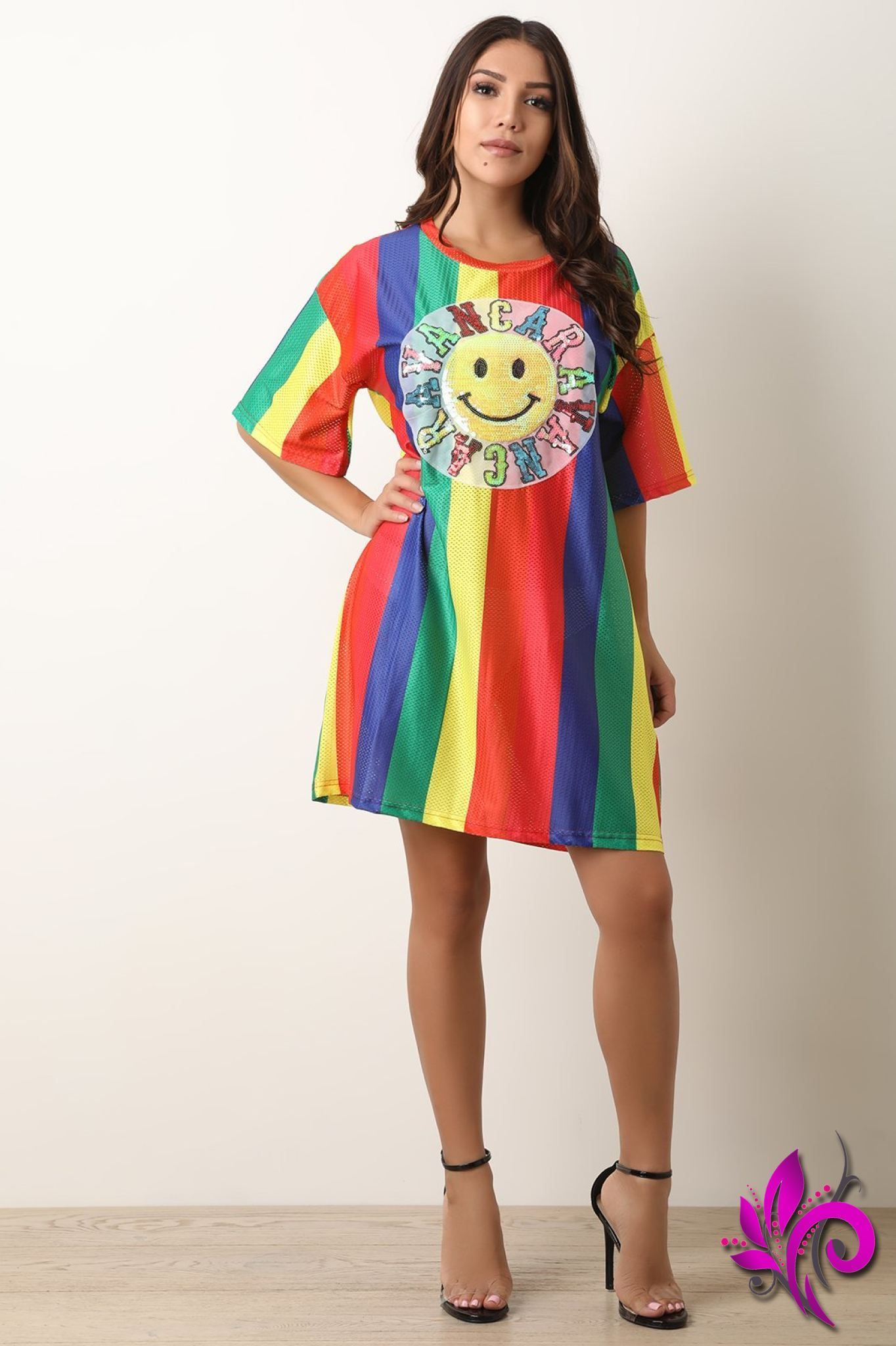 20ab25320fb7 Rainbow Stripe Mesh Sequin Graphic Print T-Shirt Dress | Products ...