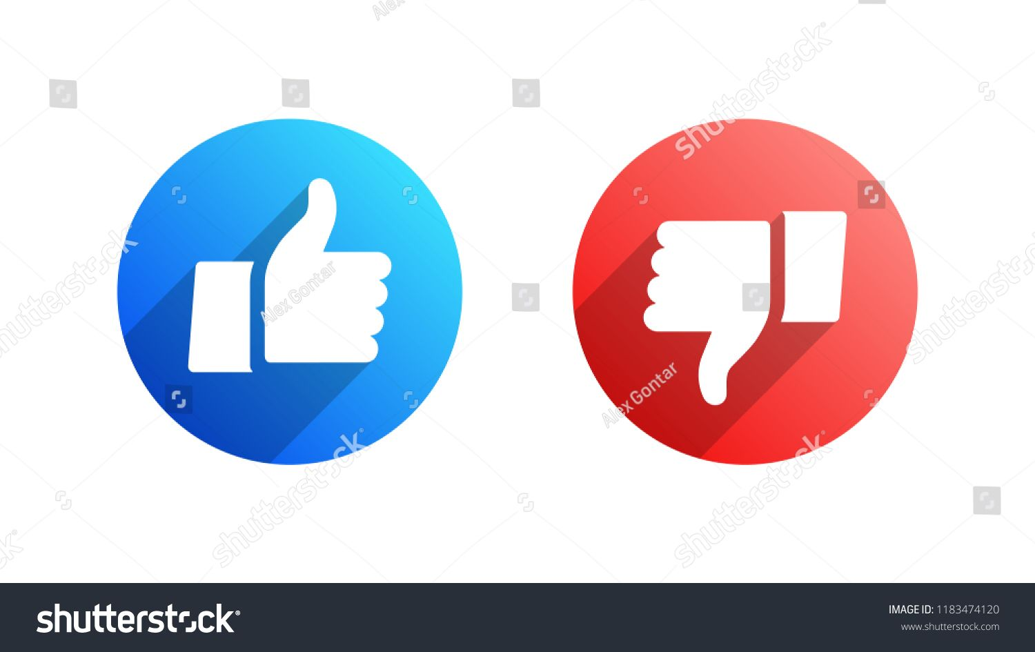 Facebook Like and Dislike Vector Modern Icons Isolated on