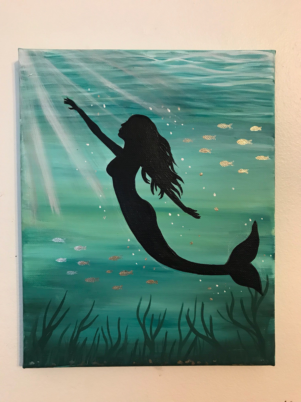 Mermaid Etsy Mermaid Painting Mermaid Paintings Acrylic Mermaid Canvas
