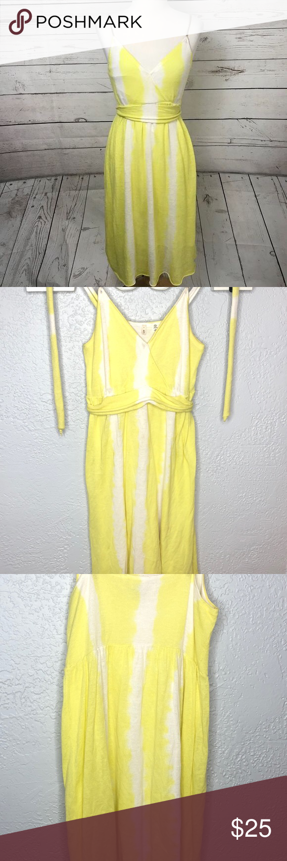 Anthro Moth Yellow And White Beach Ball Dress Yellow And White Beach Ball Dress Is So Fun You Can Tie This In The Back Beach White Dress Ball Dresses Dresses [ 1740 x 580 Pixel ]