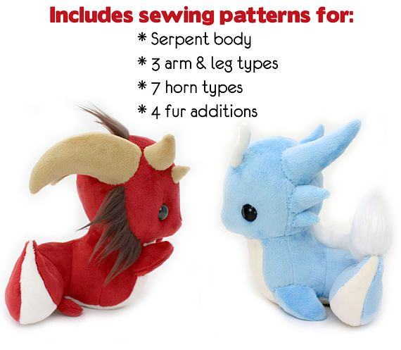PDF sewing pattern with videos - Snake and Dragon stuffed animals ...