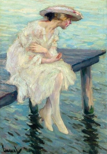 Evening by the Lake by American Impressionist Painter - Edward Cucuel (1875-1954)