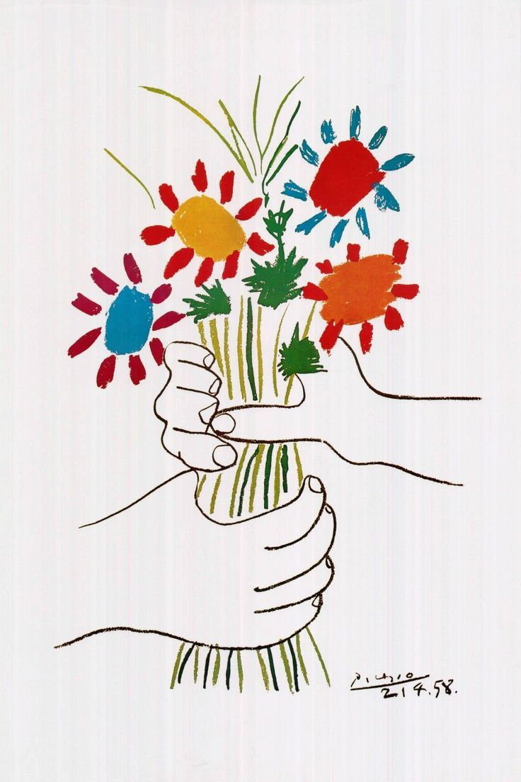 Pablo Picasso Hands with Flowers 1958 Artwork Poster