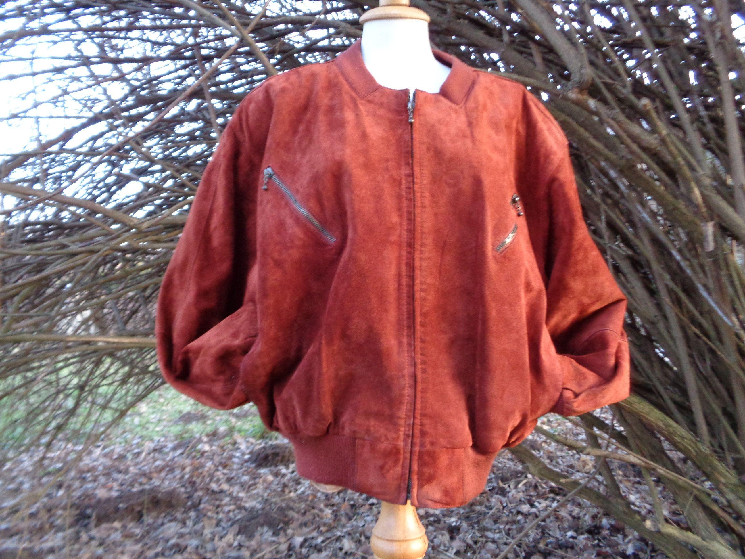 Vintage Bomber Jacket Rust Color Suede Bomber Made In South Korea