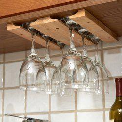 Wood Hanging Wine Glass Rack In 2019 Kitchens Pinterest Wine