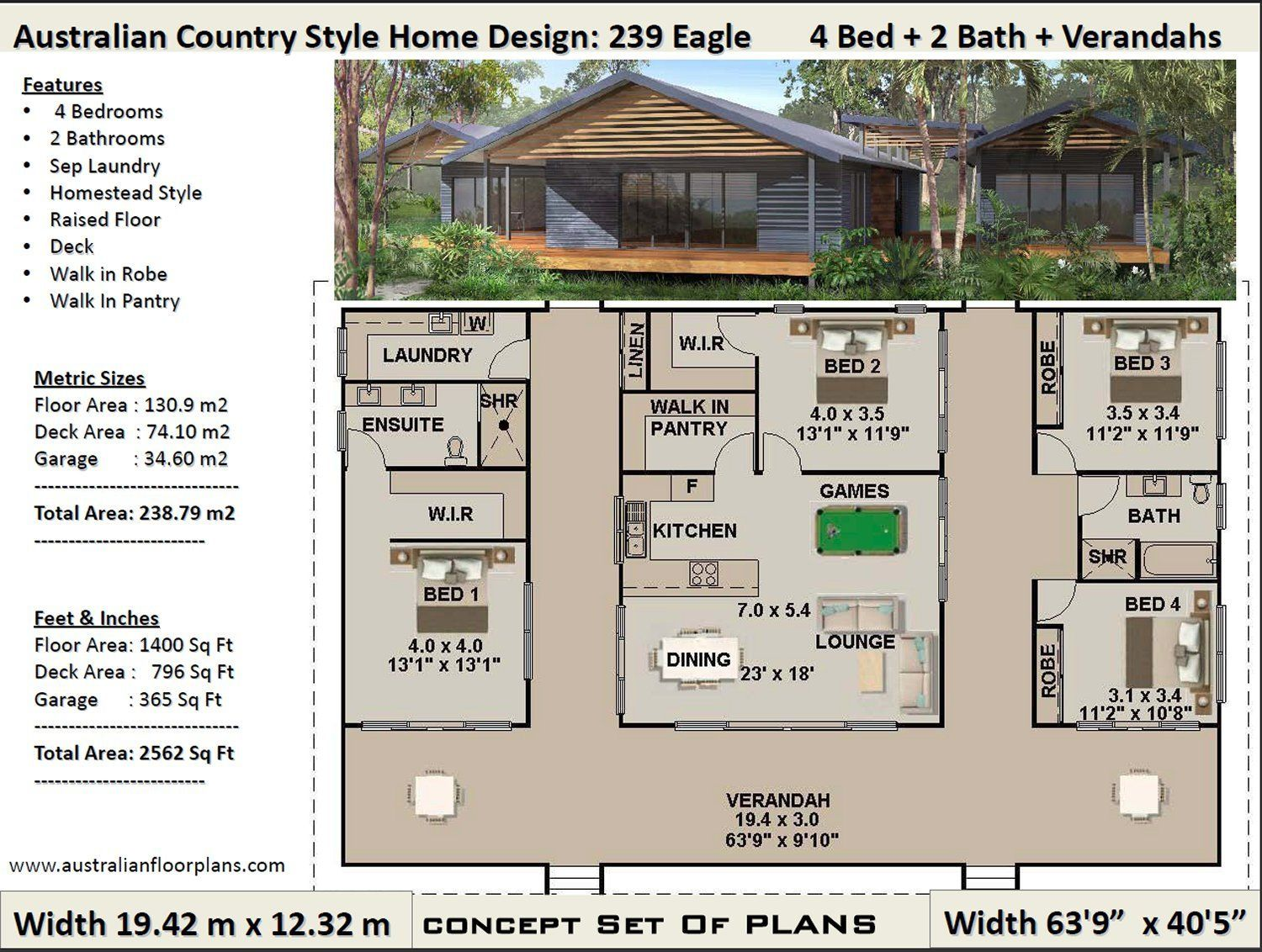 239m2 Or 2584 Sq Feet House Plans Country Style Acreage Etsy Country House Plans House Plans For Sale Craftsman House Plans