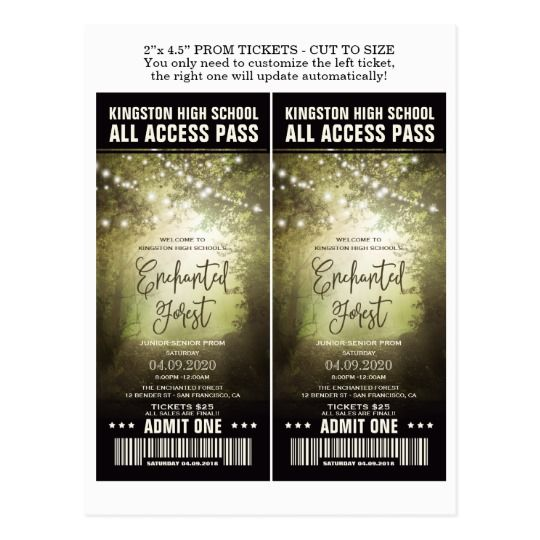 Enchanted Forest Prom Admission Tickets Templates Prom Invitations